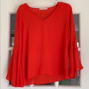 Tops - Red Bell Sleeve Blouse